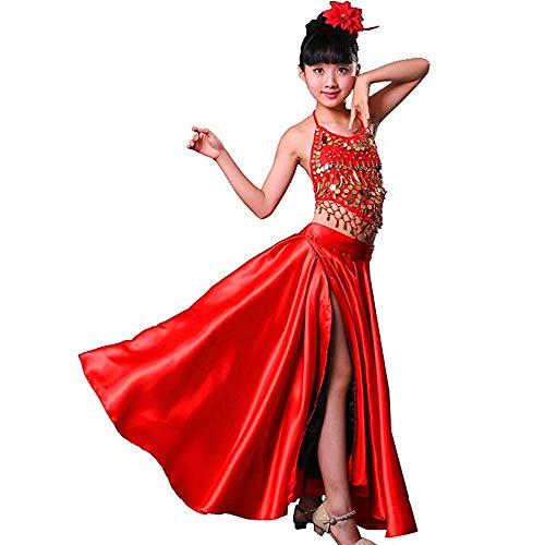 Girls Child Spanish Bull Dance Flamenco Gypsy Performance Costume Reversible Skirt + Sling top + Head Flower ()