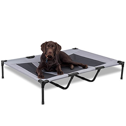 (AikoPets Elevated Pet Bed for Large Dogs Cot Indoor Outdoor Camping Steel Frame Mat 48 x 36 inch)