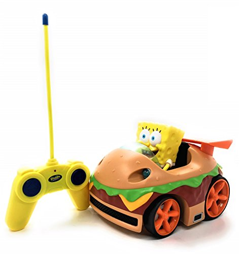 Nickelodeon Spongebob Squarepants RC Car Krabby Patty Hamburger Style Ready To Run Action Figure w/LED Lights, Kids Electric Remote Control Car