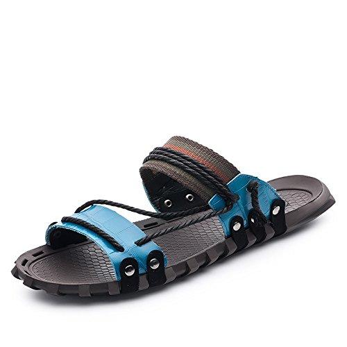 Xing Lin Sandalias De Verano Los Hombres Sandalias_Nuevas Sandalias De Cuero De Hombres Jóvenes Fashion Tamaño Grande blue