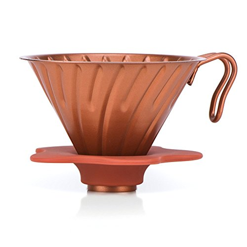 MyLifeUNIT Pour Over Coffee Maker, Stainless Steel Coffee Dipper - Drip Coffee Filter Cone #2 with Removable Silicone Stand (1-4 Cups) (Rose Gold)