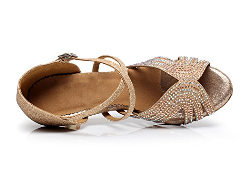 Dance Shoes Gold Suede Crystals Sandals Cross Strap Minishion Women's Sparkle Latin Wedding qw0Y4p