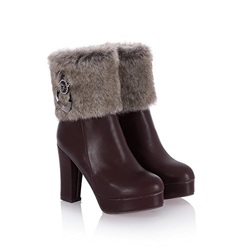 Heels Boots Brown Platform Chunky Zipper Imitated Ladies Leather 1TO9 UqgSEx