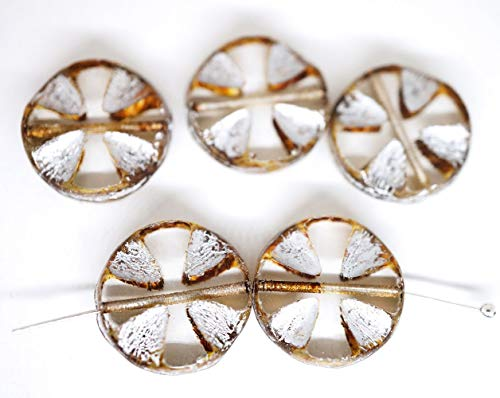 Crystal Cut Cross - 6pcs Picasso Crystal Yellow Silver Patina Wash Flat Carved Table Cut Cross Flower Coin Czech Glass Beads 14mm