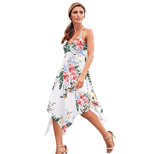 Gillberry Womens Summer Floral Skirt Party Holiday Beach Sundress Long Dressit (M, White) (Liners Cupcake Sun)