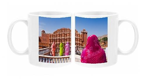 Photo Mug of Women in bright saris in front of the Hawa Mahal (Palace of the Winds), built (Pink Indian Sari Adult Costume)