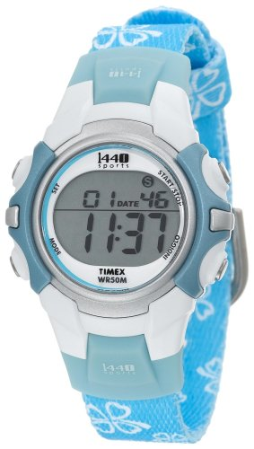 Timex Women's T5G891 1440 Sports Digital Blue Floral Fabric Strap Watch
