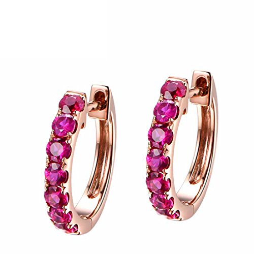 (Carleen 14k Solid Rose Gold Round Cut Natural Ruby Hinged Huggie Hoop Earrings Dainty Delicate Fine Jewelry For Women)