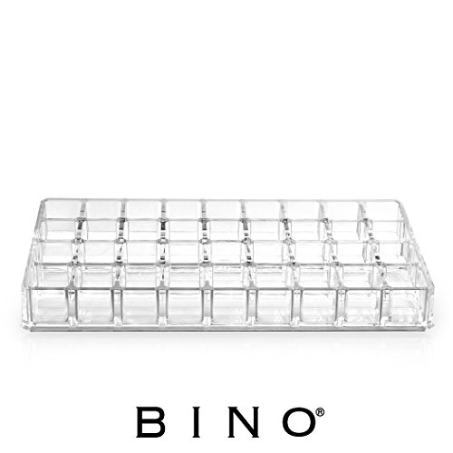 BINO Lips Galore 36 Compartment Acrylic Lipstick Organizer, Clear and Transparent Cosmetic Beauty Vanity Holder Storage