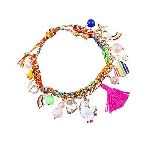 Joylike Handmade Colorful Rope Rainbow Unicorn Star Heart Charm Bracelets Girls Gift -