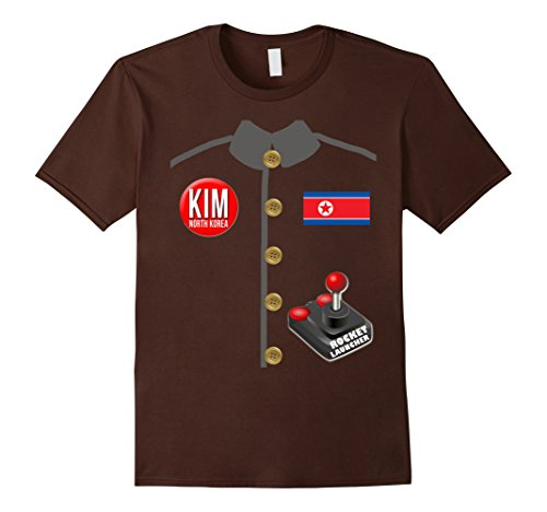 Mens Kim Jong Un Halloween T-Shirt with Rocket Launcher Small Brown