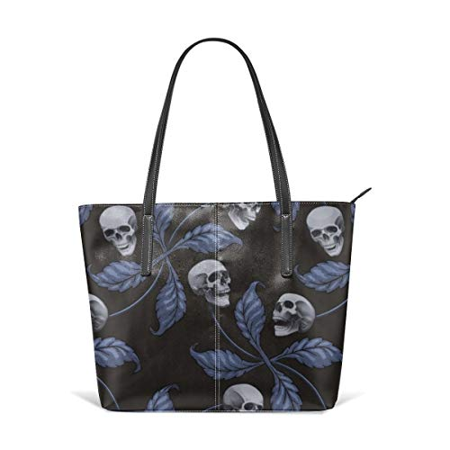 (Women's Soft Leather Tote Shoulder Bag DENIM CHERRY SKULL Very Large Scale Collection Cherry Skull Rock 'n' Roll Old School Tattoo Print Fashion Handbags Satchel Purse)