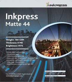 """Inkpress Duo Matte 44 Inkjet Printer Paper, Double Sided, 180gsm, 9mil, 95% Bright, 8.5x11"""", 250 Sheets"""