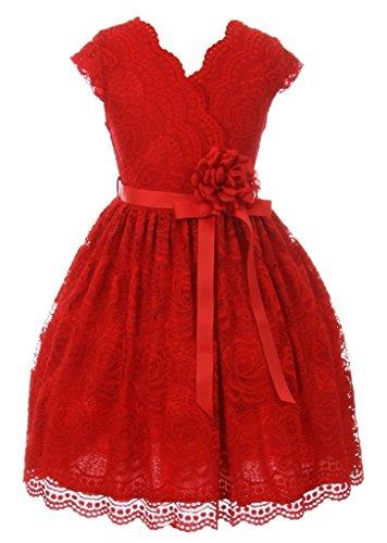 iGirlDress Little Girls Floral Design Lace Easter/Spring Dress Red Size 6 ()