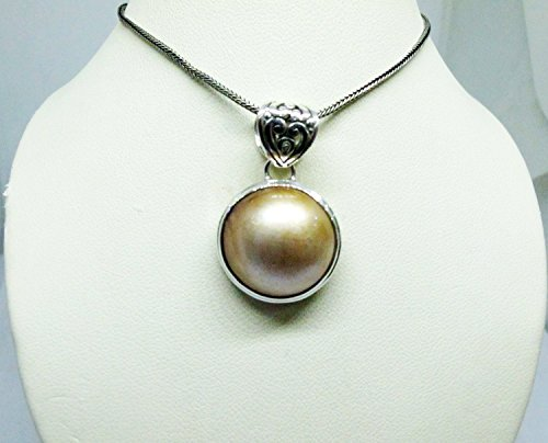 handmade 925 sterling silver pendant with 19 mm round gold mabe pearl, gold mabe pearl pendant, genuine gold mabe pearl necklace pendant Round Mabe Pearl