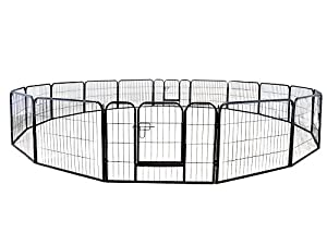 """TMS 24"""" Tall 16 Panels Metal Pet Dog Puppy Cat Exercise Fence Barrier Playpen Kennel"""