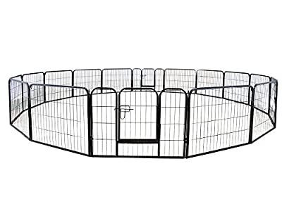 "TMS 24"" Tall 16 Panels Metal Pet Dog Puppy Cat Exercise Fence Barrier Playpen Kennel"