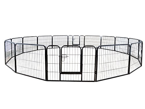 TMS 24' Tall 16 Panels Metal Pet Dog Puppy Cat Exercise Fence Barrier Playpen Kennel