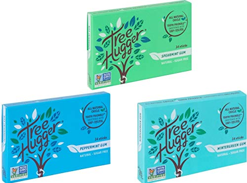 Tree Hugger Mini Sticks Real Rain Forest Chicle Gum Sweetened with 100% Tooth Friendly Xylitol Spearmint, Peppermint and Wintergreen, 14 Count, Variety Pack (3 Packs) (Organic Gum)