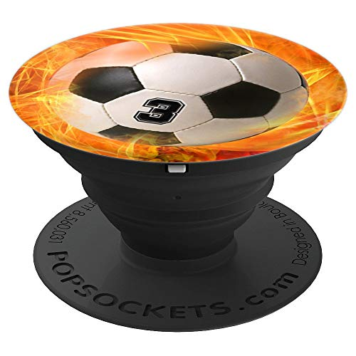 Soccer Number 3 Lucky Number Fire Flame - Soccer - PopSockets Grip and Stand for Phones and Tablets