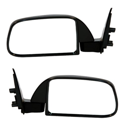 1989 Toyota Truck Parts (1989-1995 Toyota Pickup Truck Manual Smooth Black (Without Vent Window Type) Folding Rear View Mirror Pair Set: Left Driver AND Right Passenger Side (1989 89 1990 90 1991 91 1992 92 1993 93 1994 94 1995 95))
