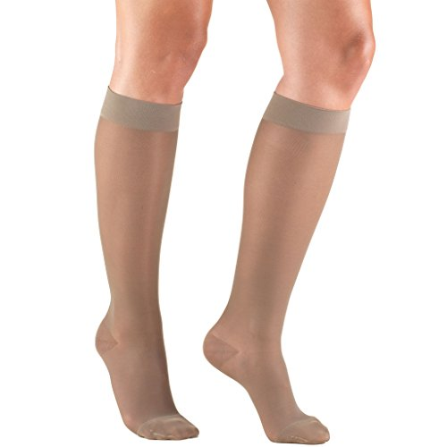 (Truform Compression Stockings, 15-20 mmHg, Sheer, Knee High, Taupe, Large)