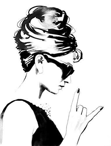 Glam Rock Decor (B&W Audrey Rocks Wall Decor Audrey Hepburn Unique Contemporary Art For Salon - Nail, Beauty & Hair Salon Decor)