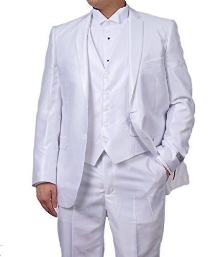 (New Mens 3 Pc (Jacket, Pants & Vest) Shiny White Sharkskin Slim Fit Dress Suit (40L))
