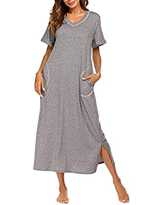 LOMON Long Nightgown Womens Cotton Knit Short Sleeve Nightshirt with Pockets