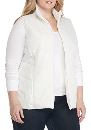 - Kim Rogers Women's Plus Size Chevron Quilted Vest (Atlas Ivory, 1X)