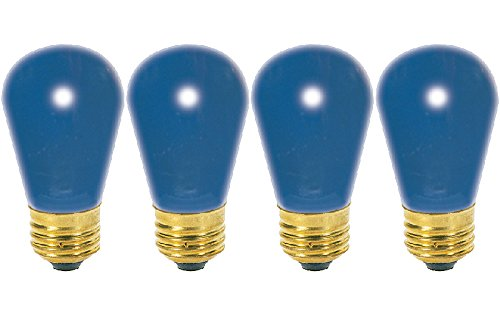 Satco S3963 11 Watt S14 Incandescent 130 Volt Medium Base Light Bulb Ceramic Blue, 4 Pack by Satco
