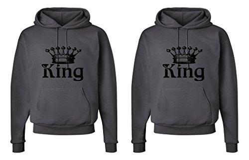FASCIINO LGBT Matching Gay Pride His & His Couple Hooded Sweatshirt Set - King and King Crowns (King Shirt #1: Large/King Shirt #2: Medium Smokie Gray) by FASCIINO