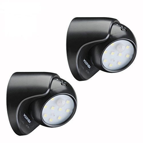 WOOPHEN Indoor Bright Wireless Fulcrum Motion Sensor LED Porch Light/Spotlight - Auto ON/Off, Battery Powered (Black2)