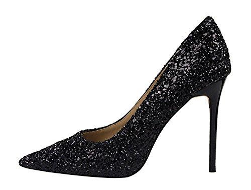 Noir Talon Soirée Mariage Haute Sexy Chaussure Wealsex Paillette Escarpin Pointu Bout Femme Mode Aiguille Club qBx6wFg
