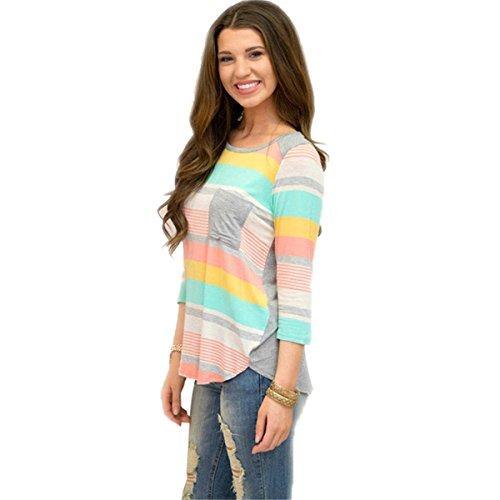 rond QHDZ longue Femme l'automne contraste dcontract Chemise Top femme Tshirt Chemise manches rayures chemisier de Multicolore 4 3 col poche couleur wgPxwUqr