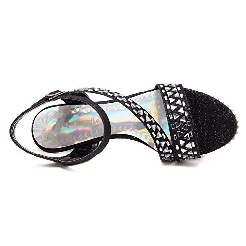 AllhqFashion Mujeres Sólido Material Suave Tacón de aguja Hebilla Puntera Abierta Sandalia Negro