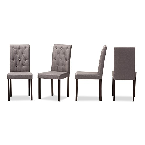 Baxton Studio Claire Dark Brown Finished Fabric Upholstered Dining Chair, Set of 4, Grey