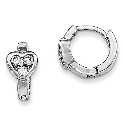 Argent Sterling poli Motif cœur avec zircone cubique pour enfant JewelryWeb Boucles d'Oreille Anneaux Charnière -