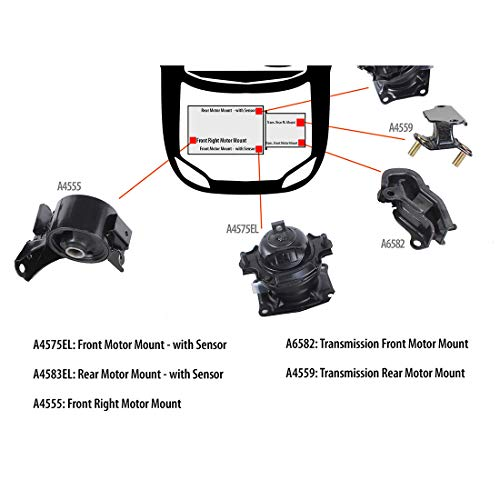 DNJ MMK1014 Complete Engine Motor & Transmission Mount kit for 2005-2006 / Honda/Odyssey / V6 / SOHC / 3.5L