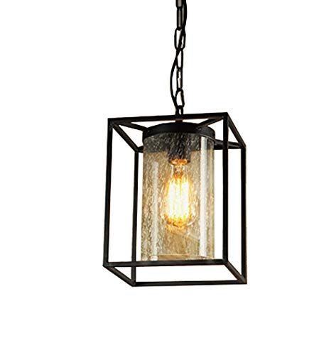 Pandora Traditional Foyer Lantern Light Chandelier, Modern Industrial Wrought Iron Metal Geometric Pendant Chandelier, Black W20CM-H25CM
