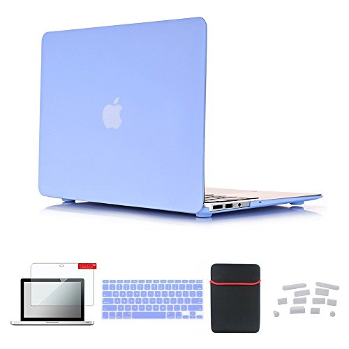 Se7enline Macbook Air 11 inch Hard Case Soft Touch Plastic Cover for Macbook Air 11.6 inch Model A1370, A1465 with Accessories Sleeve Bag, Keyboard Cover, Screen Protector, Dust plug, Serenity Blue