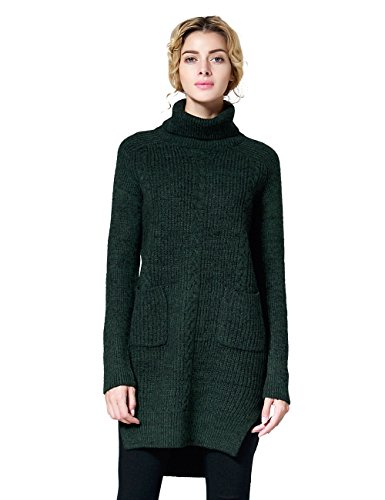 ninovino Women's Turtleneck Ribbed Knit High-Low Hem Side Slit Marled Sweater Green-S
