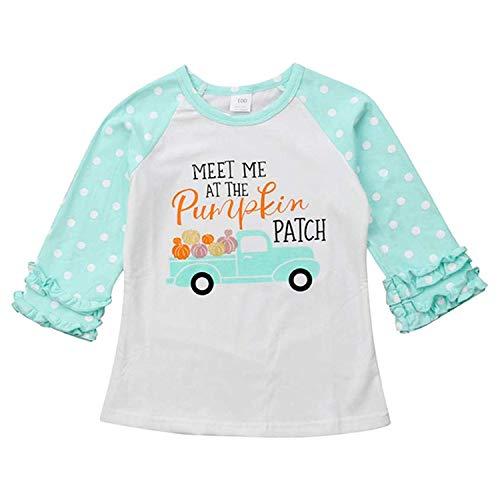 Halloween Toddler Kids Baby Girls Unicorn Pumpkin T-Shirt Long Sleeve Top Lace Sleeve Clothes Set (Light Blue, 12 Months) -