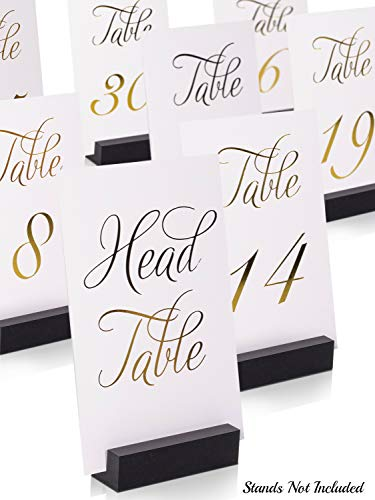 ZICOTO Classy Gold Wedding Table Numbers in Double Sided Gold Foil Lettering with Head Table Card - 4 x 6 inches and Numbered 1-30 - Perfect for Weddings and Events
