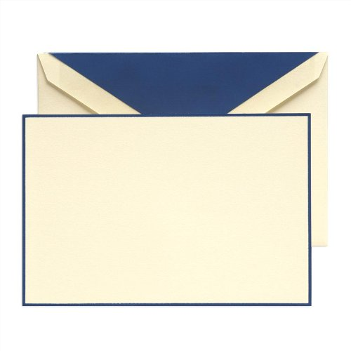 Crane & Co. Regent Blue Hand Bordered Ecruwhite Correspondence Cards (CC3131)
