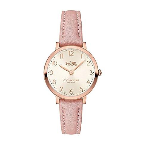 Coach Womens 14502565 Ultra Slim Pink Leather Strap Watch (Coach Women Gold Watch)