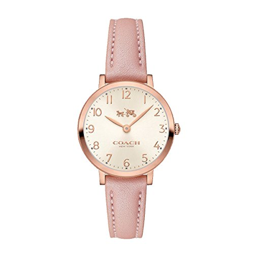 Coach Womens 14502565 Ultra Slim Pink Leather Strap Watch