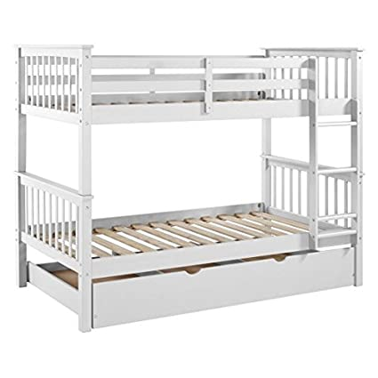 Amazon Com Solid Wood Bunk Bed With Trundle Bed Saracina Home