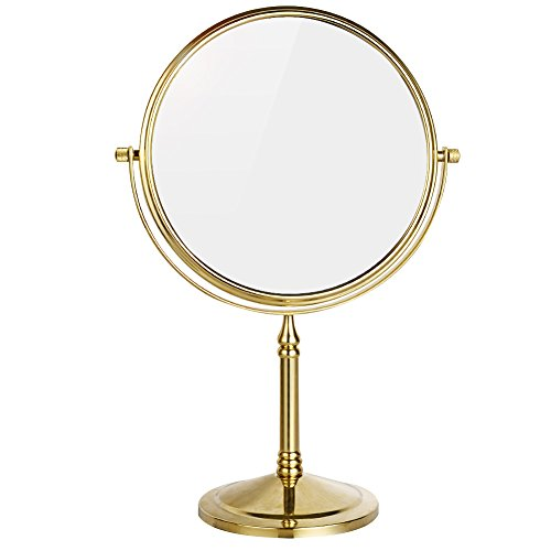 DOWRY 8-Inch Tabletop Swivel Vanity Magnifying Mirror 10x Magnification,Gold Finish, Double Sided -