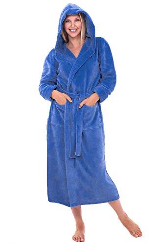 Womens Plush Fleece Robe with Hood, 1X 2X Royal Blue (A0116BLU2X) ()